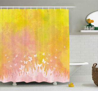 Flower Butterfly Colored Shower Curtain