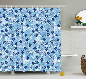 Floral Pattern Swirl Shower Curtain