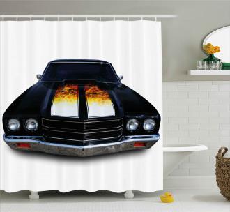 Vintage Retro Car Flame Shower Curtain