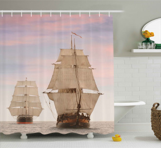 Wooden Sailing Ship Waves Shower Curtain