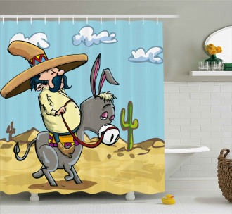 Mexican Man on a Donkey Shower Curtain