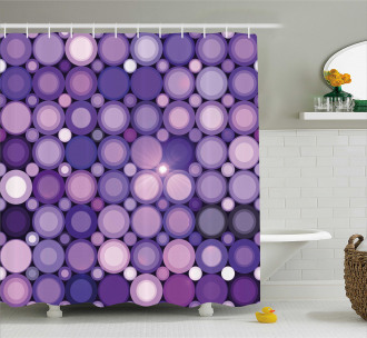 Geometric Violet Circles Shower Curtain