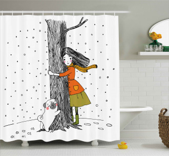 Girl with Pug Shower Curtain