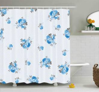 Blue Color Romantic Flower Shower Curtain