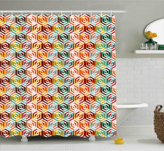 Hexagonal Shape Retro Shower Curtain
