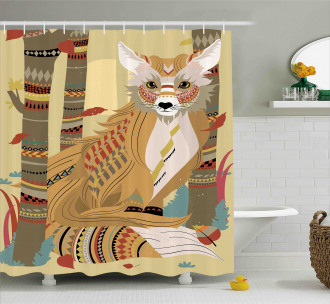 Fluffy Fox in the Forest Shower Curtain