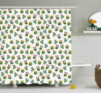 Cactus and Suculent Print Shower Curtain