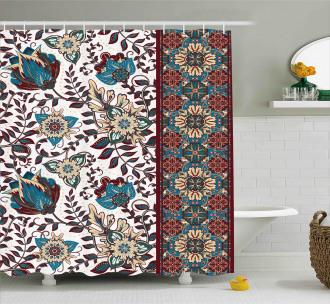 Ornate Floral Border Shower Curtain
