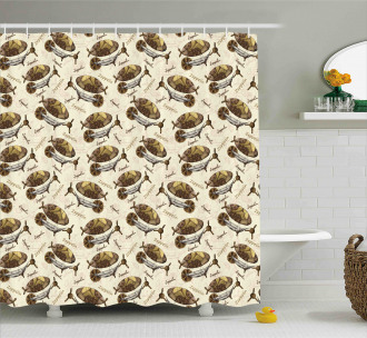 Vintage Form Aircraft Shower Curtain