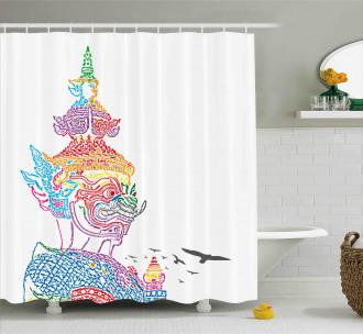 Asian Religious Bird Shower Curtain
