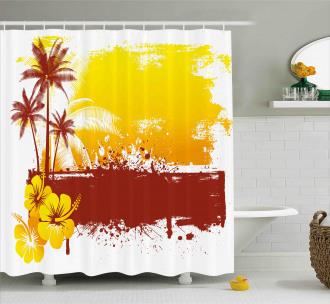 Palm Trees Sealife Ocean Shower Curtain