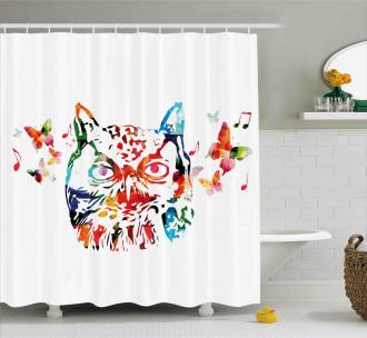 Abstract Wild Birds Owl Shower Curtain