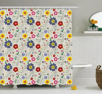 Flower Butterfly Pattern Shower Curtain