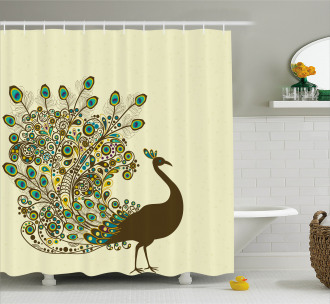 Peacock Bird Profile Shower Curtain