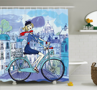 Woman on Bicycle with Cat Shower Curtain