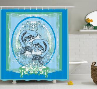 Asian Koi Fish Pattern Shower Curtain