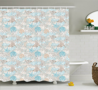 Pastel Toned Seashells Shower Curtain