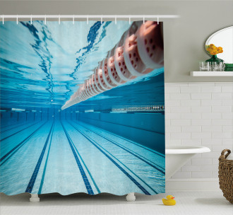 Swimming Pool Sports View Shower Curtain