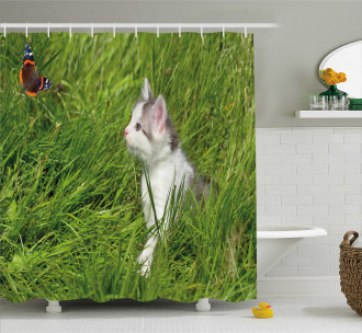 Cute Cat and Butterfly Shower Curtain