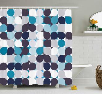 Retro Circles Squares Shower Curtain