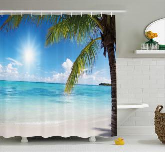 Tropical Seashore Palms Shower Curtain