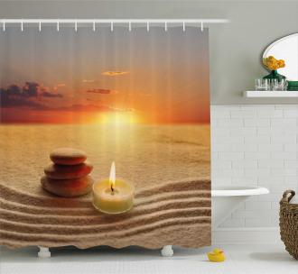 Meditation Zen Yoga Candle Shower Curtain