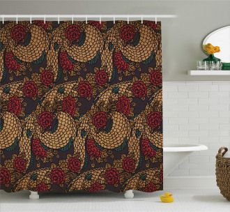 Traditional Roses Dragon Shower Curtain