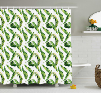 Watercolor Summer Leaves Shower Curtain