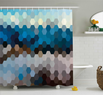 Geometric Puzzle Blurry Shower Curtain