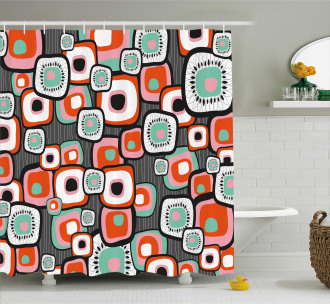 Funk Lava Flowers Forms Shower Curtain