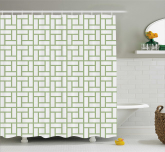 Maze Shaped Squares Lines Shower Curtain