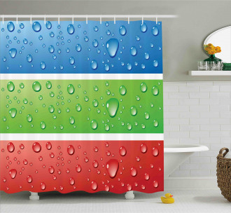 Water Drops on a Plastic Shower Curtain