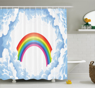 Rainbow Fluffy Clouds Shower Curtain