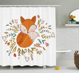Cute Baby Fox Flowers Shower Curtain