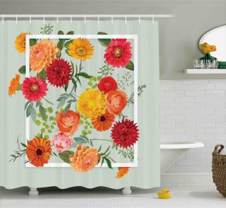 Floral Flower Leaf Shower Curtain