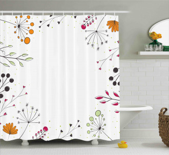 Geometric Flowers Floral Shower Curtain