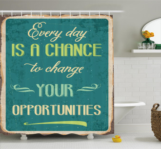 Motivational Retro Poster Shower Curtain