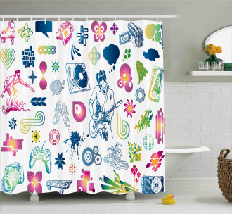 Modern Ombre Guitar Teen Shower Curtain