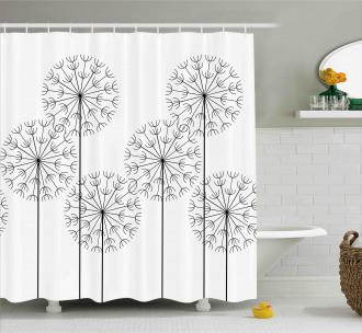 Digital Flower Dandelion Shower Curtain