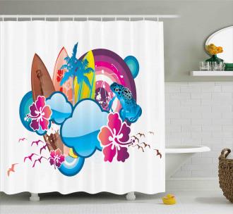 Season Hot Beach Vbes Shower Curtain