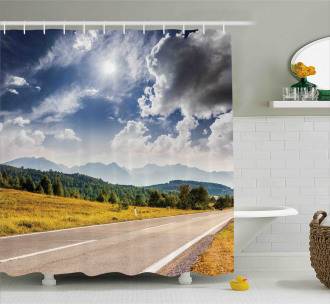 Road Hot Sunny Road Shower Curtain