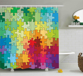 Colored Hobby Puzzle Shower Curtain