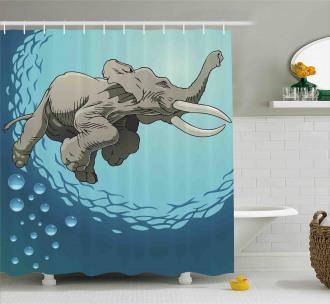 Elephant in Tropic Ocean Shower Curtain