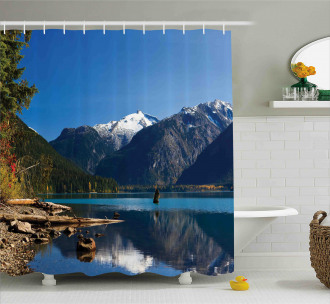 Winter Mountain Trees Shower Curtain