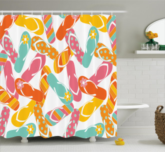 Summer Holiday Sandals Shower Curtain