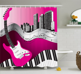 Urban Bass Guitar Rock Shower Curtain