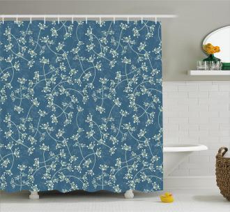 Twiggy Spring Petal Blue Shower Curtain