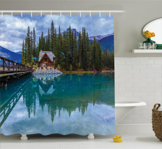 Lake Scenery Cottage Shower Curtain