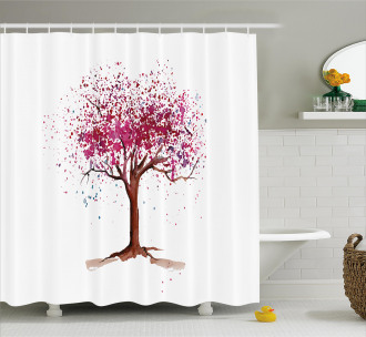 Blossom Buds Sakura Tree Shower Curtain
