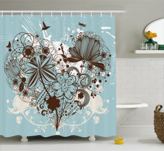 Swirls and Petal Retro Shower Curtain